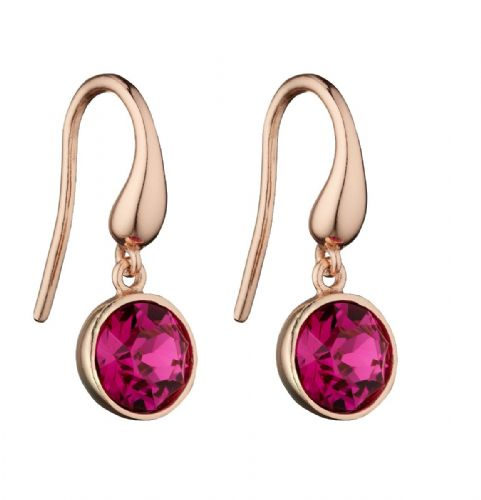 Rose Gold Swarovski Crystal Fuchsia Earrings